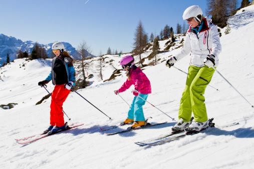 Ski family in Moountains