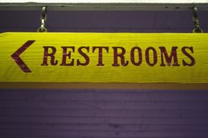 Signage of Restrooms, Close Up