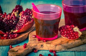 pomegranate juice and ripe red