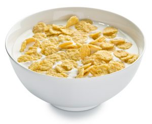 Cornflakes in the bowl.