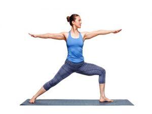 Warrior 2 yoga pose bladder