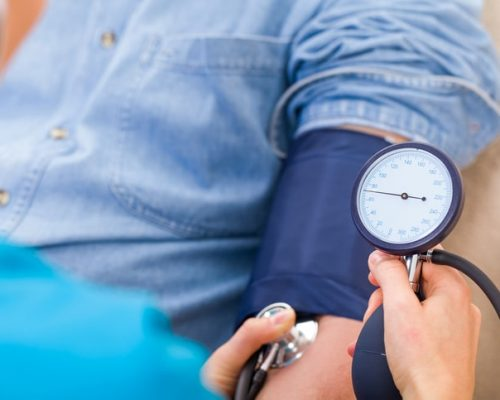 Patients checking blood pressure