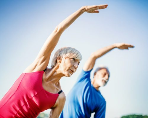 obese seniors exercising muscle mass