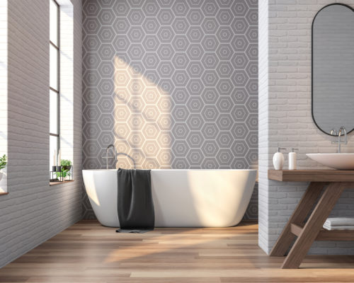 Vintage bathroom 3d rendering image,There are wood floor,white brick and gray tile wall ,Decorate with wooden basin table,The room has large windows. Sunlight shining into the room.