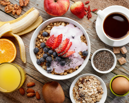 top view of healthy breakfast ingredients, selective focus