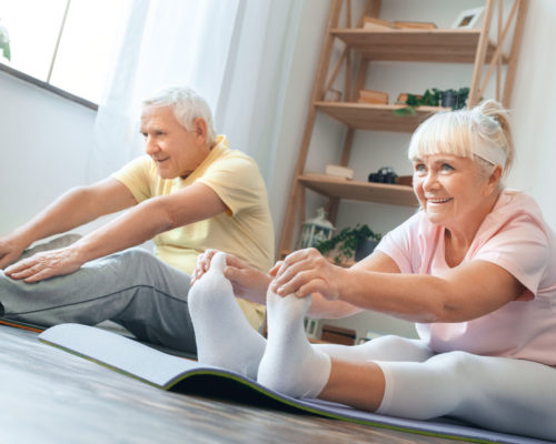 Senior man and woman doing yoga together indoors holding feet legs stretching smiling