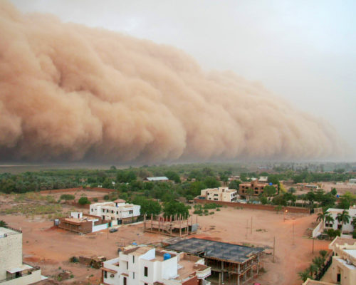 A haboob approaching the outskirts of Khartoum, Sudan. A haboob is a type of intense dust storm carried on wind that occur regularly in Sudan. Khartoum is the capital and largest city of Sudan, located at the confluence of the White Nile, flowing north from Lake Victoria in Uganda, and the Blue Nile, flowing west from Ethiopia. Khartoum is composed of 3 cities: Khartoum proper, Khartoum North and Omdurman.