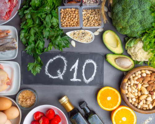 Composition with food contains coenzyme Q10, antioxidant, produce energy to cell, products against free radicals, and supports body as it ages, immune system, keeping body strong and healthy, and increase its ability to fight illness.
