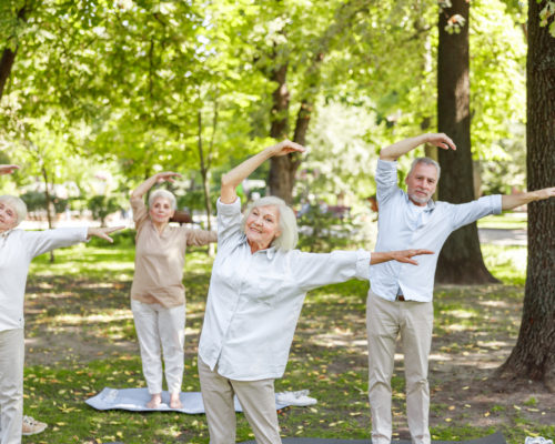 Group of old people doing qigong exercise outdoors stock photo