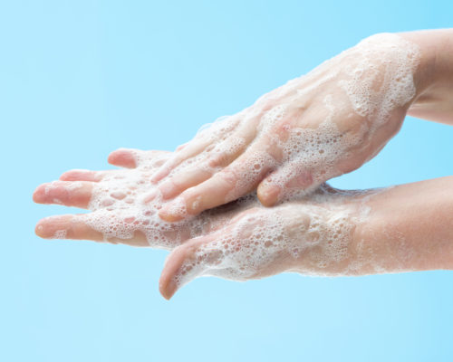 Washing hands with soap to prevent germs, bacteria or viruses. Cleaning hands. Hygiene concept