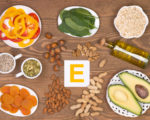Various food containing vitamin E, top view
