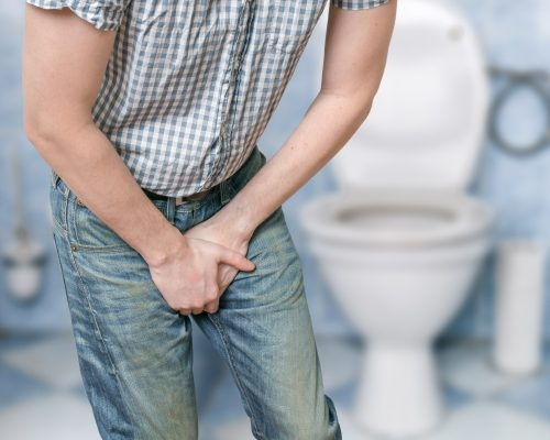 Man with prostate problem. Incontinence concept.