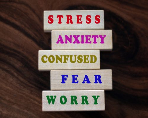 Colorful negative single word list on wooden blocks. Master your mind concept from stress, anxiety, confused, fear, worry and negativity. Mental health awareness concept.