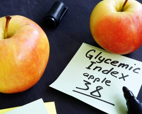 Glycemic index of apple on a piece of paper.