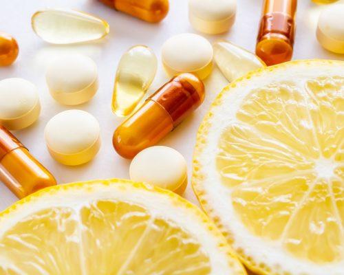 Supplement, Lemon, Vitamins, Nutrition, White Background