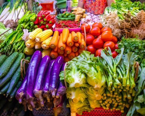Fresh vegetables and fruits at local market in Sanya, Hainan province, China