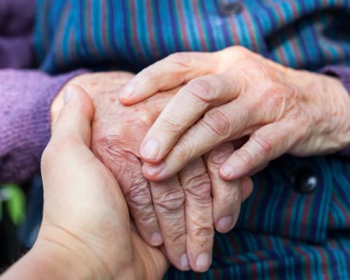 Close up picture of elderly disabled female hands with loving caregiver