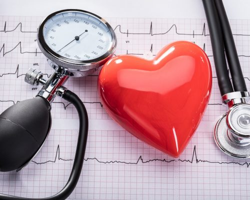 Cardiogram Of Heart Beat With Stethoscope, Sphygmomanometer And Heart