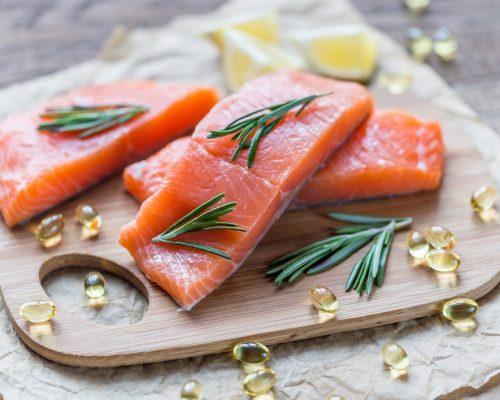 Sources of Omega-3 acid (salmon and Omega-3 pills)