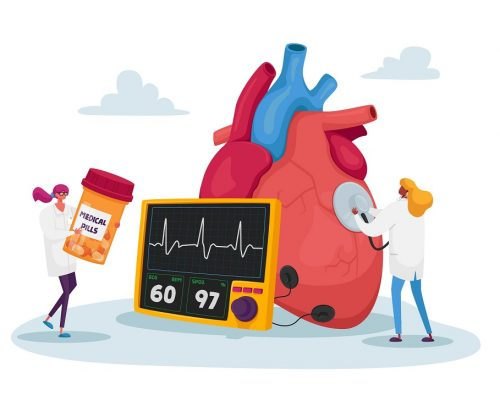 Tiny Doctor Characters at Huge Human Heart Measure Pulse with Stethoscope and Cholesterol Level Diagnose and Treatment. Cardiology Health Care, Medicine and Pills. Cartoon People Vector Illustration