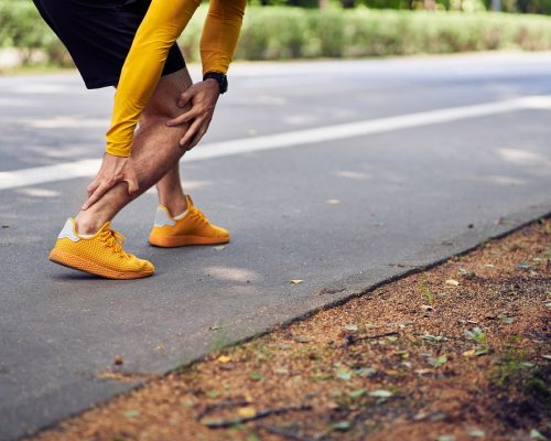 Achilles tendon injury in runners concept.