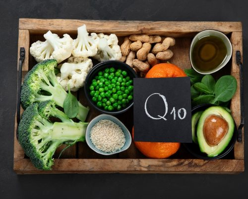 """Healthy food contains coenzyme Q10, supports immune system. Top view, chalkboard""""n"""