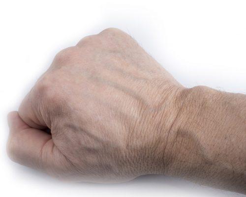 Man veiny wrist on a white background