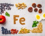 Healthy product sources of Fe. Top view, food background, iron ingredients: buckwheat, dried fruit, apple, eggs on a white background.